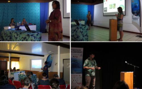 Photos de conférenciers présentant leur recherche lors du 10e IPFC Tahiti 2017