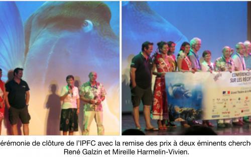 Photos de la cérémonie de clôture de l'IPFC avec la remise des prix à deux éminents chercheurs français, René Galzin et Mireille Harmelin-Vivien